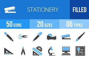50 Stationery Blue & Black Icons