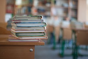 books on the table in the school