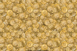 Gold coins seamless patern
