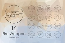 16 Firearms line icons