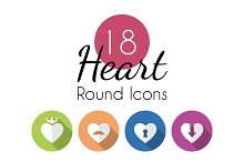 18 Heart Round Icons Set