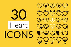 30 Heart Icons Set