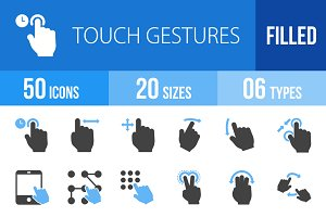 50 Touch Gestures Blue & Black Icons