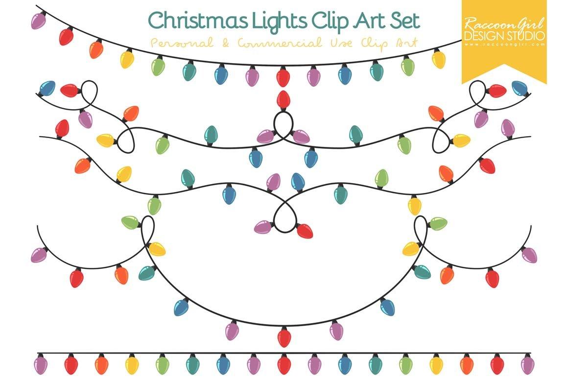 Christmas lights clip art set illustrations creative