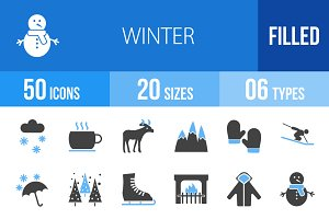 50 Winter Blue & Black Icons