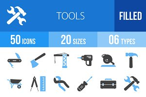 50 Tools Blue & Black Icons