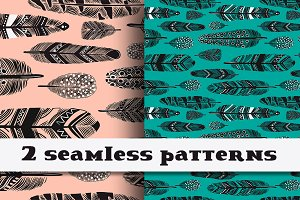2 feathers patterns