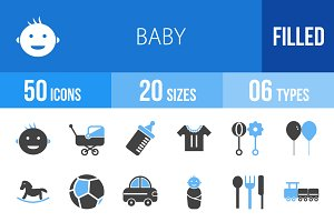 50 Baby Blue & Black Icons