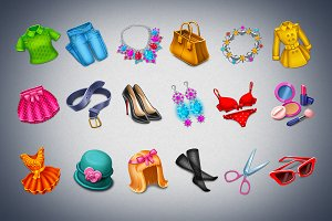 18 Girls items game icons set