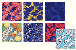 Set of 7 floral Patterns, seamless