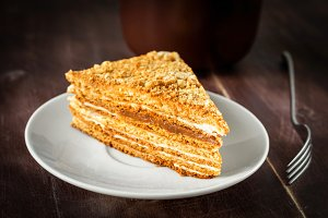 Layered cake with caramel