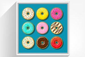 Different cute donuts