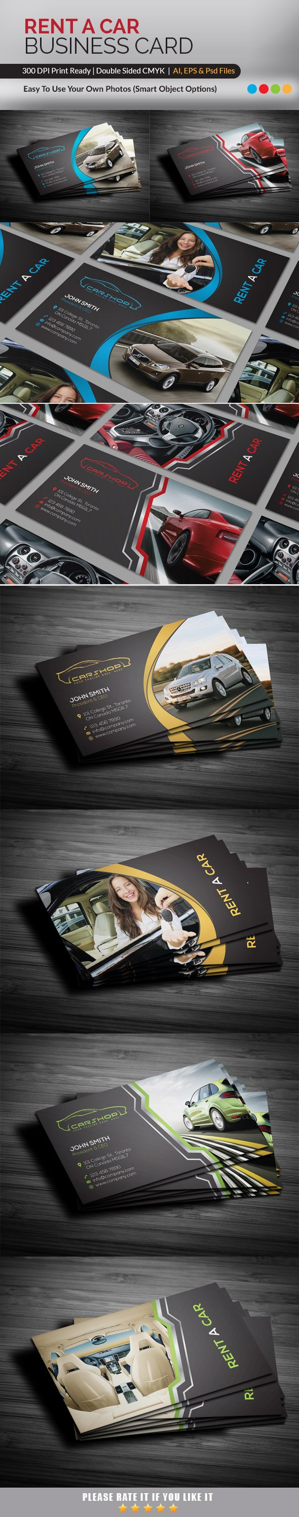 Rent a car business card business card templates creative market reheart Image collections