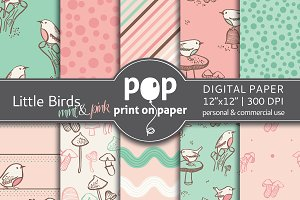 Little Birds mint pink Digital Paper