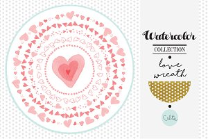 Watercolor love wreaths