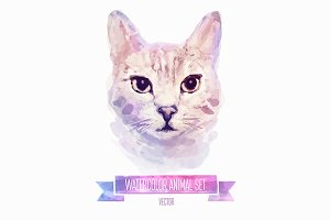 Watercolor set of animals | Cat