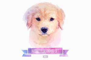 Watercolor set of animals | Dog