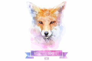 Watercolor set of animals | Fox