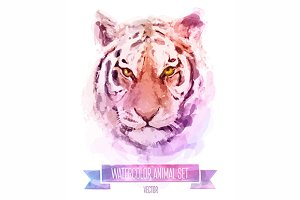 Watercolor set of animals | Tiger