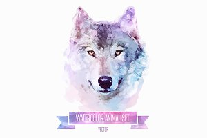 Watercolor set of animals | Wolf