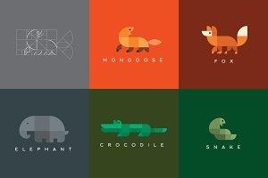 Set of geometric logos animals