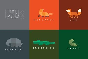 Set of geometric logos animals