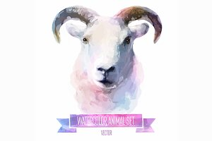 Watercolor set of animals | Ram