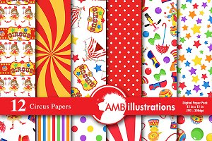 Digital Papers Circus Theme AMB-1159