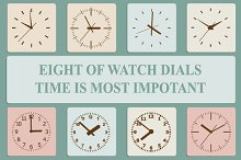Eight of watch dials. Time is most i