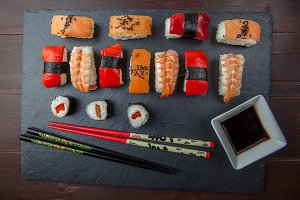 Sushi platter with chopsticks