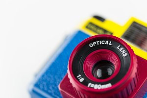 Colourful camera lens closeup