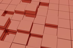 Glassy red cubes