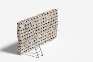 Ladder and brick wall