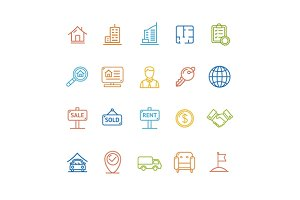 Real Estate Outline Icon Set. Vector