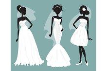 Brides in various wedding dresses
