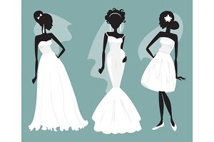 Brides in various wedding dresses