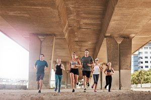 Group of healthy people running