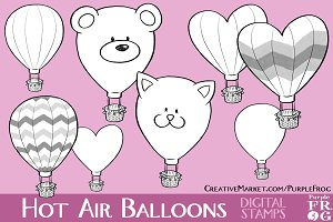 HOT AIR BALLOONS - Digital Stamps