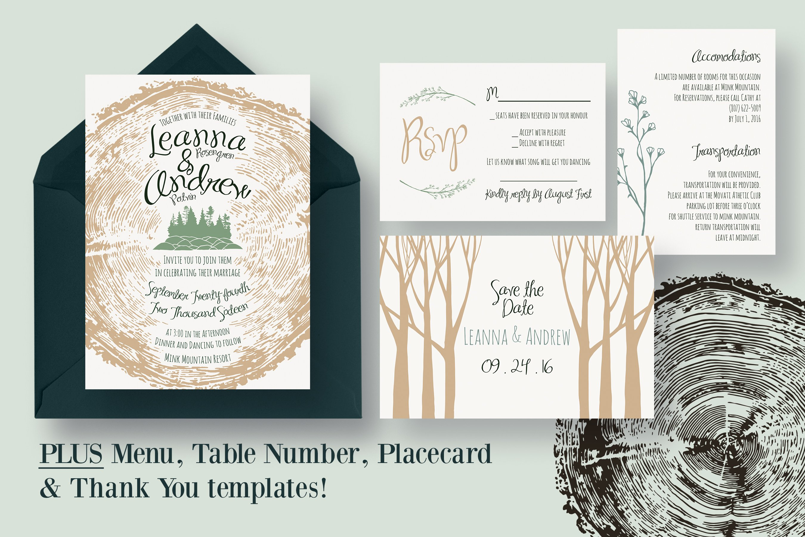 Wedding Invitation Suite Templates: Tree Ring Wedding Invitation Suite