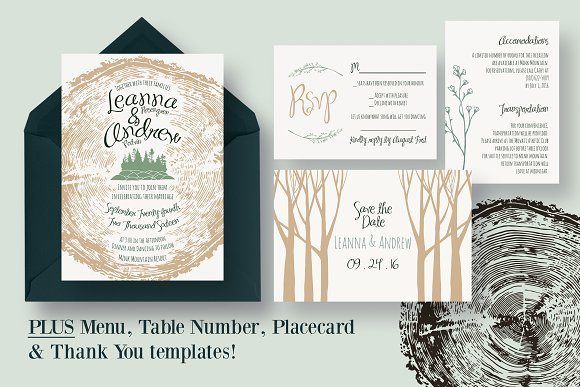 Tree Ring Wedding Invitation Suite