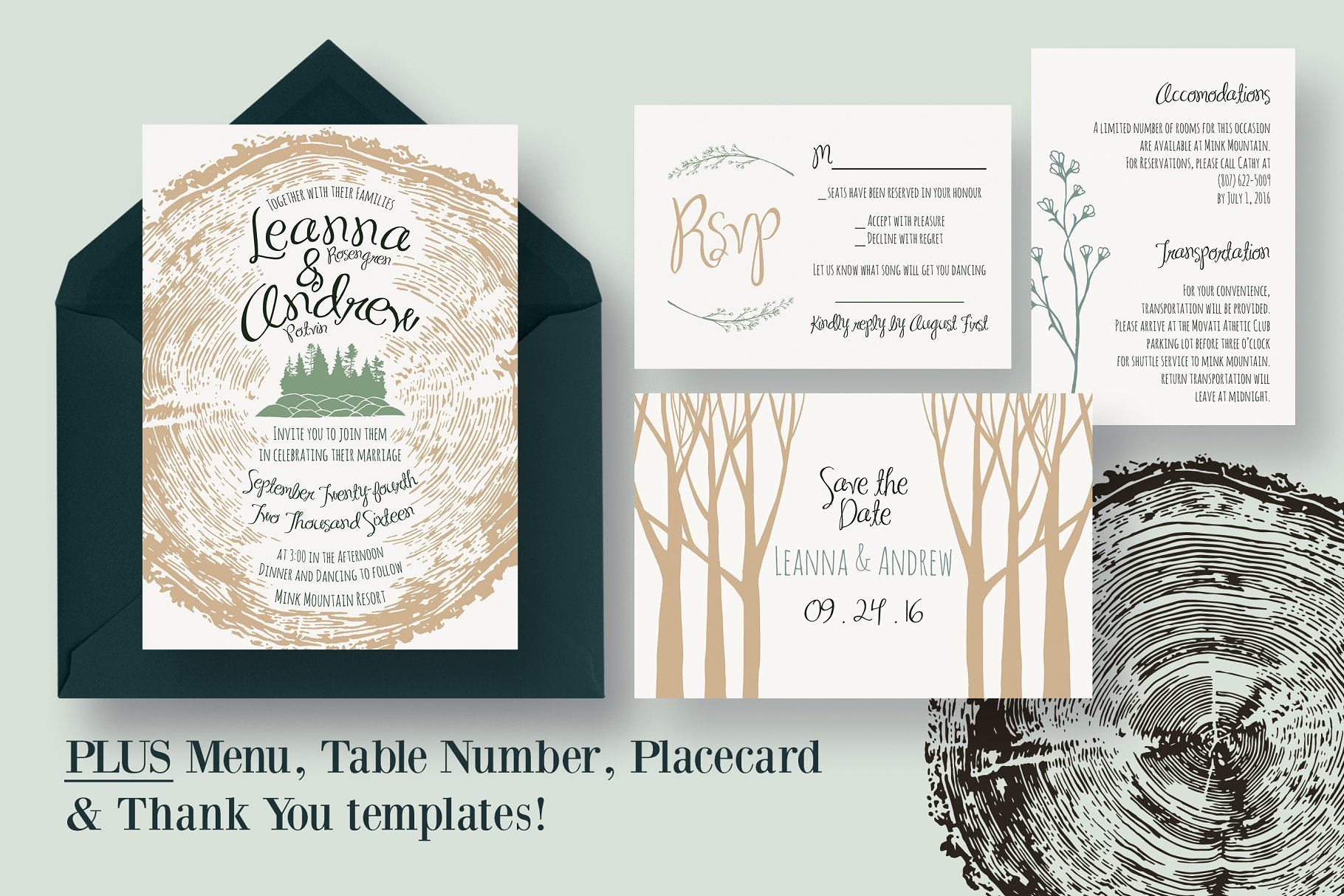 Tree Ring Wedding Invitation Suite - Invitation Templates | Creative ...
