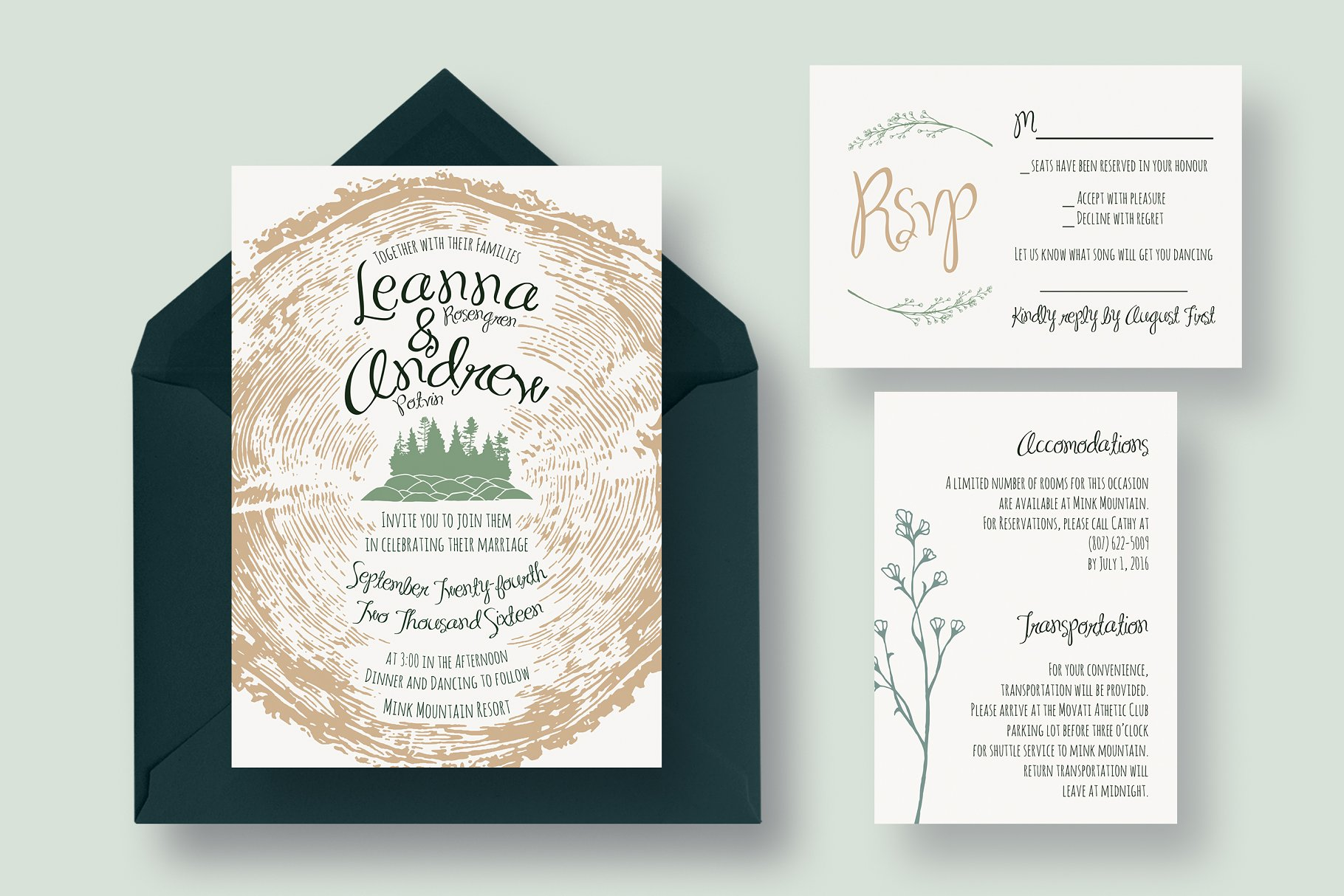 Tree Ring Wedding Invitation Suite - Invitation Templates | Creative ...