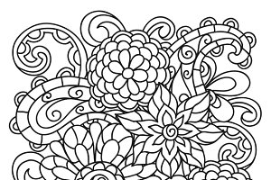 Backgrounds with line flowers.