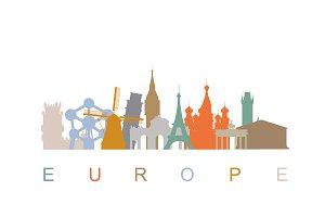 Europe skyline landmarks silhouettes