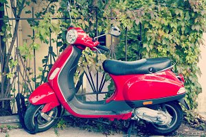 Red stylish scooter