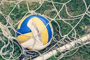 Old broken soccer ball