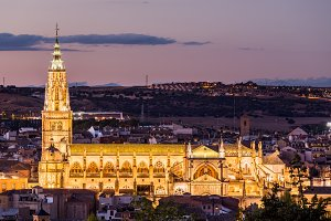 Ancient floodlit cathedral Toledo