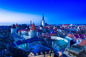Night over city of Tallinn Estonia