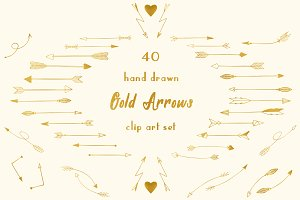 40 Gold arrow clipart set