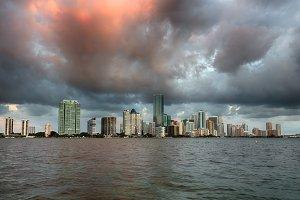 Skyline of Miami at dawn